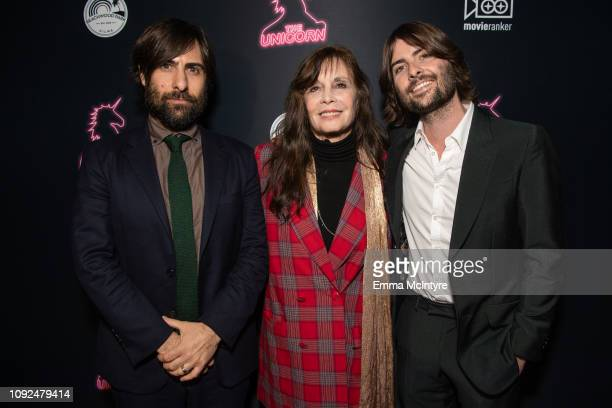 Jason Schwartzman, Talia Shire and Robert Schwartzman attend the LA premiere of 'The Unicorn' at ArcLight Hollywood on January 10, 2019 in Hollywood,...