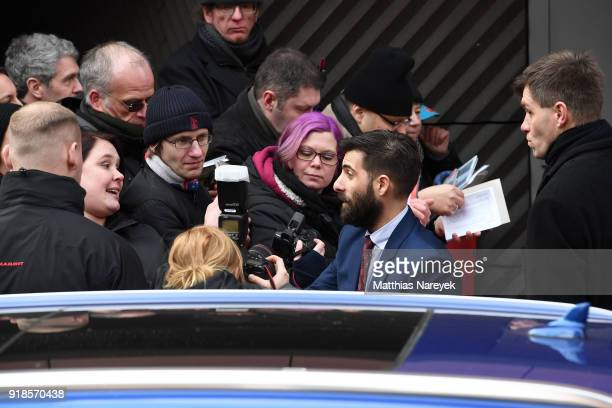 Jason Schwartzman with fans after the 'Isle of Dogs' press conference during the 68th Berlinale International Film Festival Berlin at Grand Hyatt...
