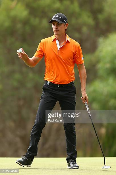 Jason Scrivener of Australia celebrates after a birdie on the 3rd hole during day four of the 2016 Perth International at Karrinyup GC on February 28...