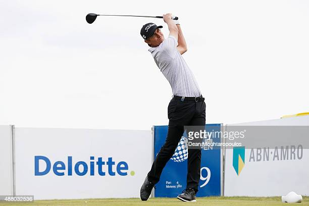 Jason Scrivener of Australia hits his tee shot on the 9th hole during the KLM Open Final Round held at Kennemer G & CC on September 13, 2015 in...