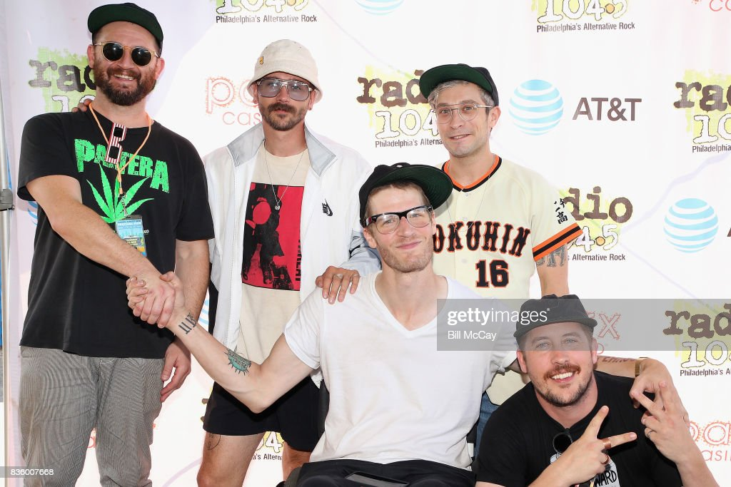 Jason Sechrist, John Gourley, Eric Howk, Kyle O'Quin and Zachary Carothers of the band Portugal. The Man pose at the Radio 104.5 Summer Block Party August 20 , 2017 in Philadelphia, Pennsylvania