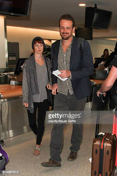 Jason Segel and Alexis Mixter are seen at LAX on October 13 2016 in Los Angeles California