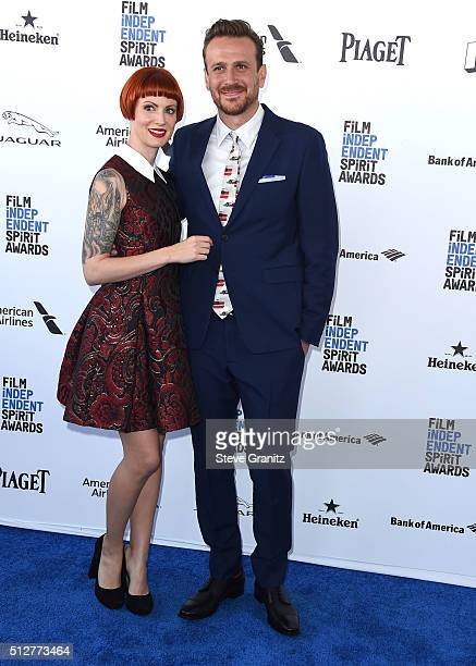 Jason Segel and Alexis Mixter arrives at the 2016 Film Independent Spirit Awards on February 27 2016 in Santa Monica California