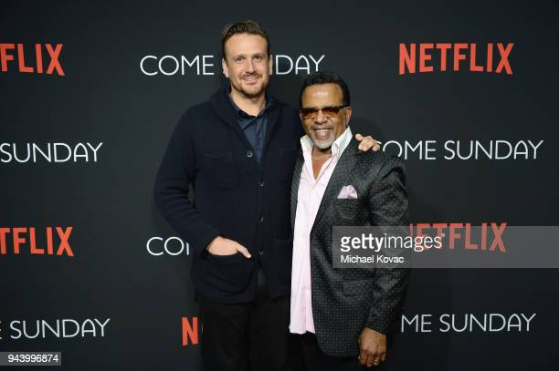 Jason Segel and Bishop Carlton Pearson attends the special screening of the Netflix film Come Sunday at the Directors Guild of America Theater in Los...