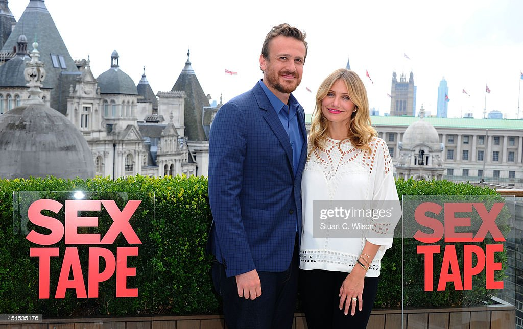 Jason Segel and Cameron Diaz attend a photocall for 'Sex Tape' at Corinthia Hotel London on September 3, 2014 in London, England.