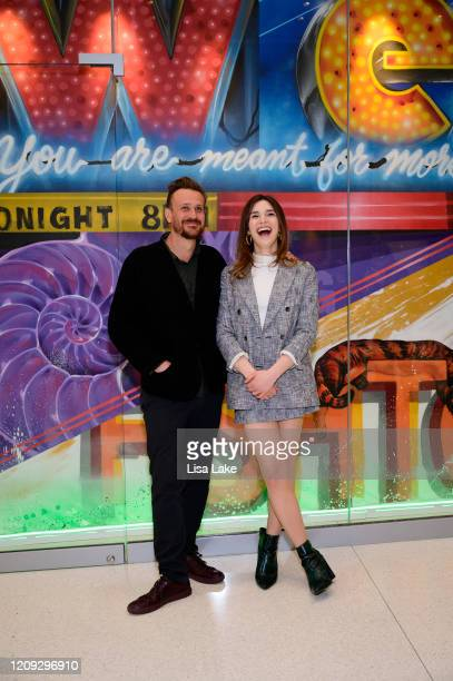 Jason Segel and Eve Lindley attend the Dispatches From Elsewhere mural unveiling at the Comcast Technology Center on February 28 2020 in Philadelphia...