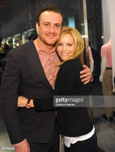 Jason Segel and Leslie Mann attend the launch of the 2009 Pink Croc Collection to benefit the Breast Cancer Research Foundation held at the Lacoste...