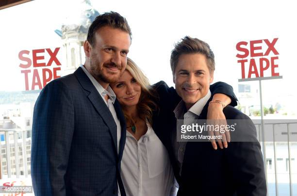 Jason Segel Cameron Diaz and Rob Lowe pose for a photocall for their latest film 'Sex Tape' at the Hotel Mandarin on June 19 2014 in Barcelona Spain