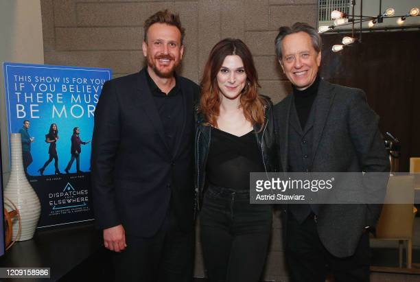 Jason Segel Eve Lindley and Richard E Grant attend IFC Dispatches From Elsewhere screening In NYC on February 27 2020 in New York City