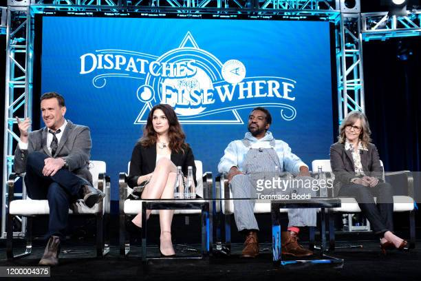 Jason Segel Eve Lindley André Benjamin and Sally Field of 'Dispatches from Elsewhere' speak onstage during the AMC Networks portion of the Winter...