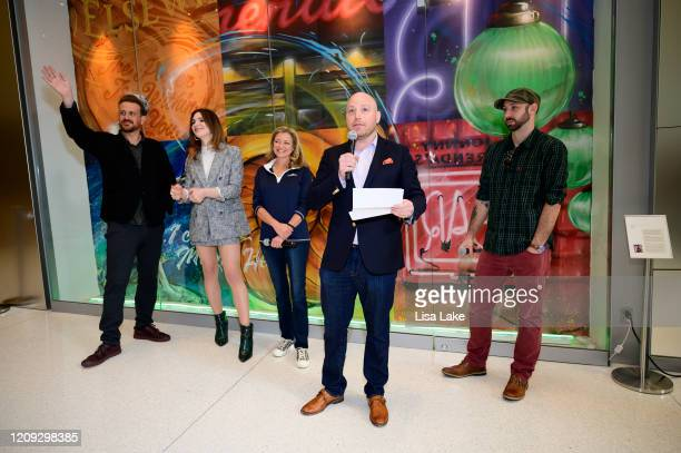 Jason Segel Eve Lindley Karen Dougherty Buchholz Josh Reader and Glossblack attend the Dispatches From Elsewhere mural unveiling at the Comcast...