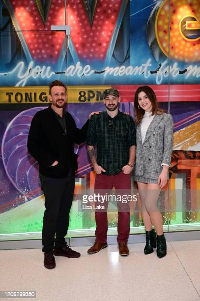 Jason Segel Glossblack and Eve Lindley attend the Dispatches From Elsewhere mural unveiling at the Comcast Technology Center on February 28 2020 in...