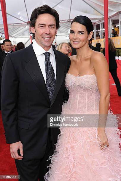 Jason Sehorn and actress Angie Harmon arrive at the TNT/TBS broadcast of the 17th Annual Screen Actors Guild Awards held at The Shrine Auditorium on...