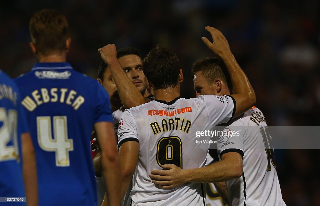 Jason Shackell of Derby County celebrates scoring a goal during the Capital One Cup First Round match between Portsmouth v Derby County at Fratton Park on August 12, 2015 in Portsmouth, England.