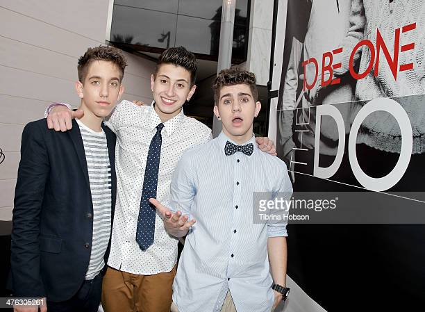 Jason Smith Mikey Fusco and Madison Alamia of To Be One attend a meet and greet with their fans at Glendale Galleria on March 2 2014 in Glendale...
