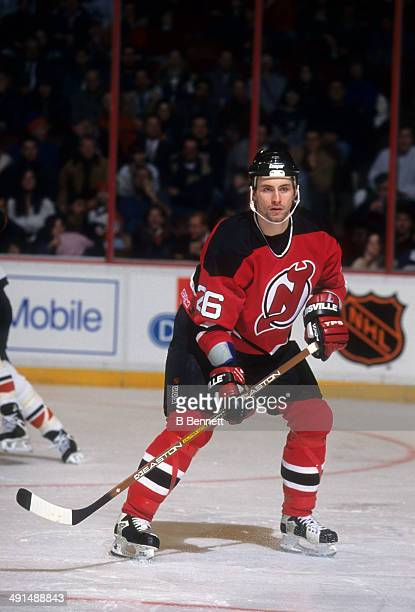 Jason Smith of the New Jersey Devils skates on the ice during an NHL game against the Philadelphia Flyers on February 19 1996 at the Spectrum in...