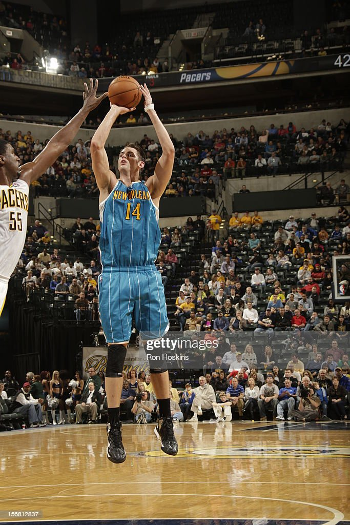 Jason Smith #14 of the New Orleans Hornets takes a jumpshot vs the Indiana Pacers on November 21, 2012 at Bankers Life Fieldhouse in Indianapolis, Indiana.