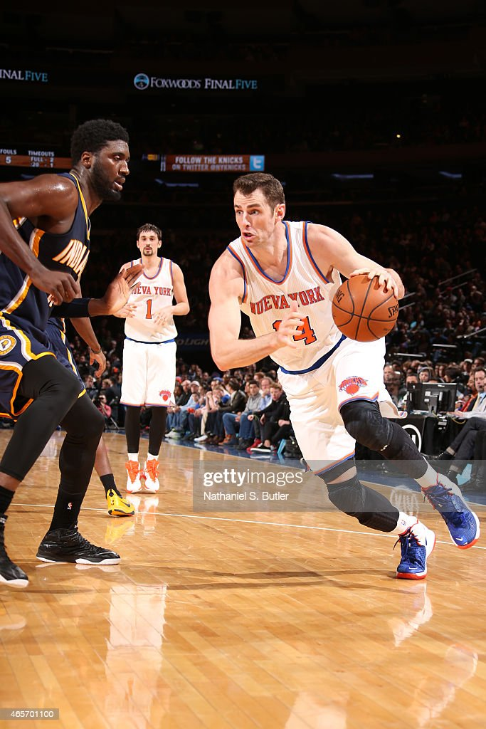 Jason Smith #14 of the New York Knicks drives against the Indiana Pacers on March 7, 2015 at Madison Square Garden in New York City.
