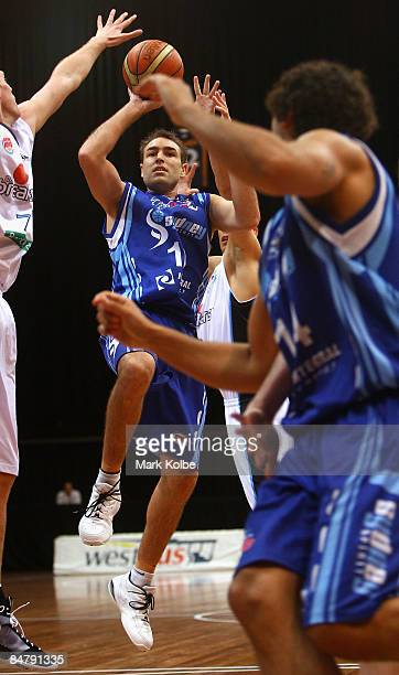 Jason Smith of the Spirit goes up for a shot during the round 22 NBL match between the Sydney Spirit and the New Zealand Breakers at the Sydney...