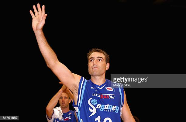 Jason Smith of the Spirit waves farewell to the crowd after the round 22 NBL match between the Sydney Spirit and the New Zealand Breakers at the...
