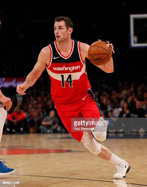 Jason Smith of the Washington Wizards drives with the ball in a preseason NBA basketball game against the New York Knicks on October 13 2017 at...