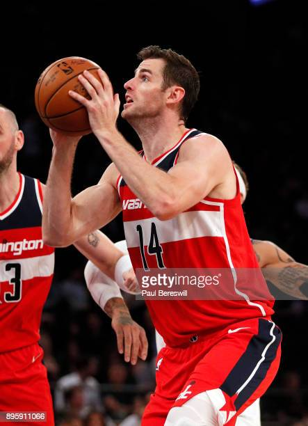 Jason Smith of the Washington Wizards looks to shoot in a preseason NBA basketball game against the New York Knicks on October 13 2017 at Madison...