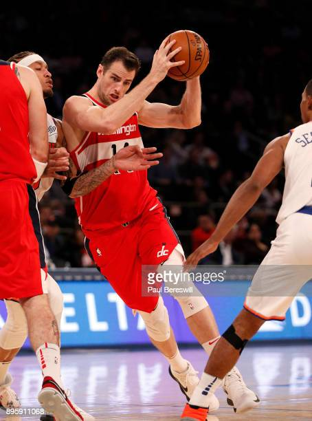 Jason Smith of the Washington Wizards starts to drive to the basket in a preseason NBA basketball game against the New York Knicks on October 13 2017...