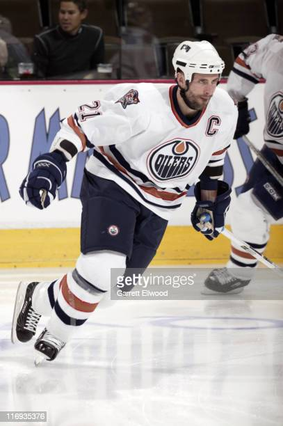Jason Smith the Edmonton Oilers prior to the game against the Colorado Avalanche on March 26, 2006 at Pepsi Center in Denver, Colorado.
