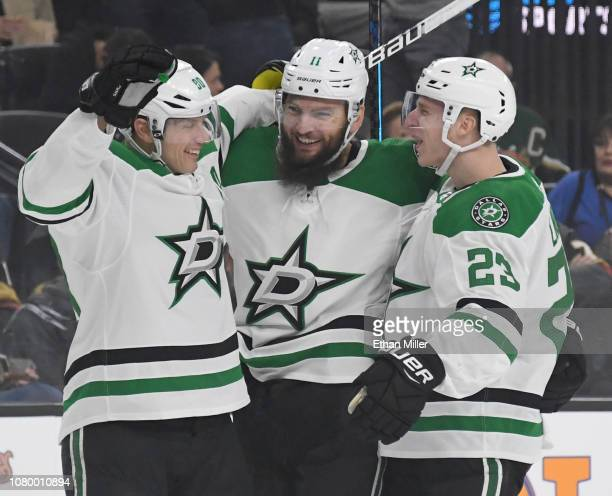 Jason Spezza Martin Hanzal and Esa Lindell of the Dallas Stars celebrate after Lindell assisted Hanzal on a firstperiod powerplay goal against the...