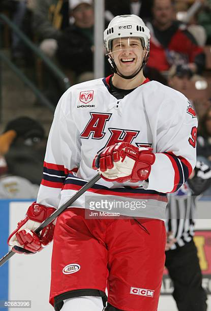 Jason Spezza of the Canadian All Stars rests against the Planet USA All Stars during the Dodge AHL All Star Classic on February 14 2005 at Verizon...