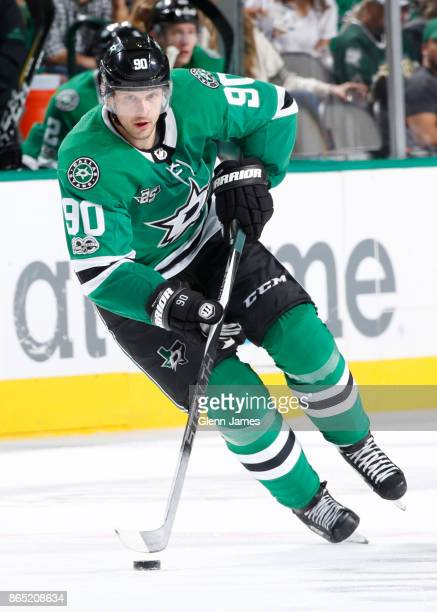 Jason Spezza of the Dallas Stars handles the puck against the Carolina Hurricanes at the American Airlines Center on October 21 2017 in Dallas Texas