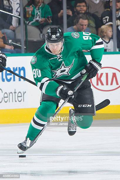 Jason Spezza of the Dallas Stars handles the puck against the Los Angeles Kings at the American Airlines Center on November 4 2014 in Dallas Texas