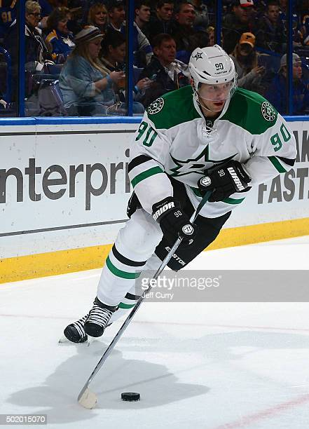 Jason Spezza of the Dallas Stars handles the puck against the St Louis Blues on December 12 2015 at Scottrade Center in St Louis Missouri