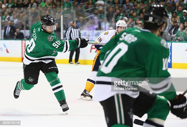 Jason Spezza of the Dallas Stars scores a hat trick goal against the Nashville Predators in the third period at American Airlines Center on April 9...