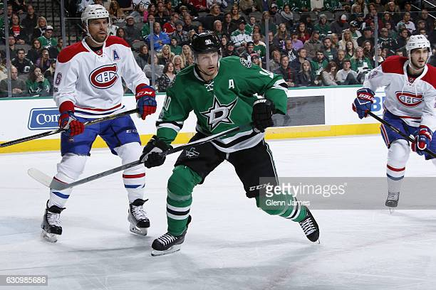 Jason Spezza of the Dallas Stars skates against Shea Weber of the Montreal Canadiens at the American Airlines Center on January 4 2017 in Dallas Texas