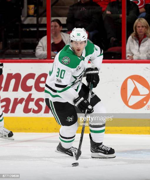 Jason Spezza of the Dallas Stars skates with the puck during an NHL game against the Carolina Hurricanes on November 13 2017 at PNC Arena in Raleigh...