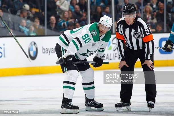 Jason Spezza of the Dallas Stars speaks with a referee during the game against the San Jose Sharks at SAP Center on February 18 2018 in San Jose...