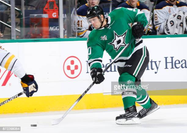 Jason Spezza of the Dallas Stars winds up a shot against the Buffalo Sabres at the American Airlines Center on November 4 2017 in Dallas Texas