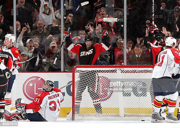 Jason Spezza of the Ottawa Senators celebrates his second period goal against Craig Anderson of the Florida Panthers at Scotiabank Place on December...
