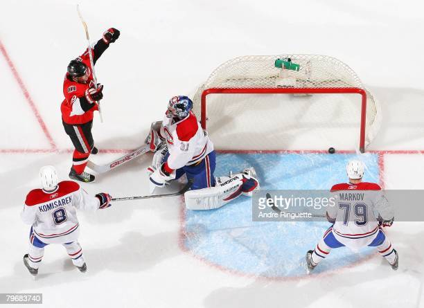 Jason Spezza of the Ottawa Senators celebrates his third goal of the game for his first career hat trick against Carey Price the Montreal Canadiens...