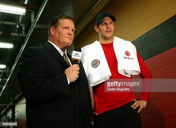 Jason Spezza of the Ottawa Senators is interviewed by Dean Brown for CBC television after his hat-trick performance against the Pittsburgh Penguins...