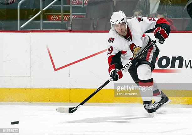 Jason Spezza of the Ottawa Senators sends a pass against the Philadelphia Flyers on February 12, 2009 at the Wachovia Center in Philadelphia,...