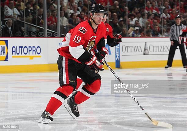 Jason Spezza of the Ottawa Senators skates against the Boston Bruins at Scotiabank Place on April 4 2008 in Ottawa Ontario Canada