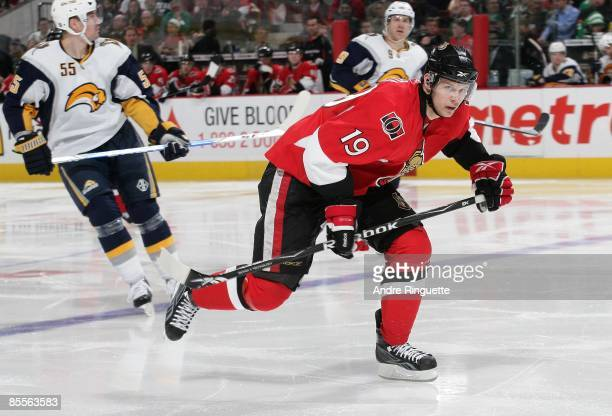 Jason Spezza of the Ottawa Senators skates against the Buffalo Sabres at Scotiabank Place on March 17 2009 in Ottawa Ontario Canada