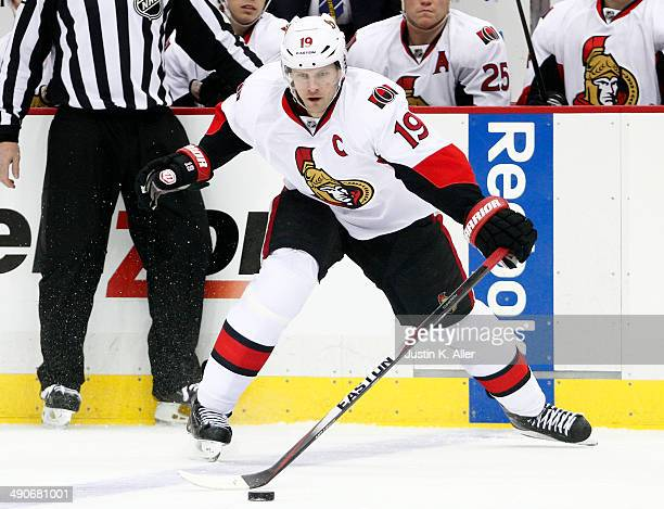 Jason Spezza of the Ottawa Senators skates against the Pittsburgh Penguins during the game at Consol Energy Center on April 13 2014 in Pittsburgh...