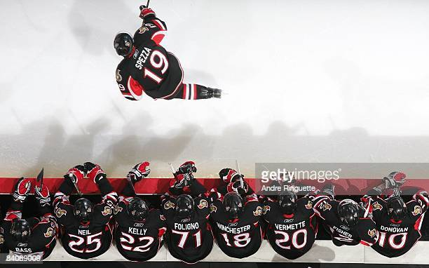 Jason Spezza of the Ottawa Senators skates by the players' bench in an NHL game against the Florida Panthers at Scotiabank Place on December 8 2008...
