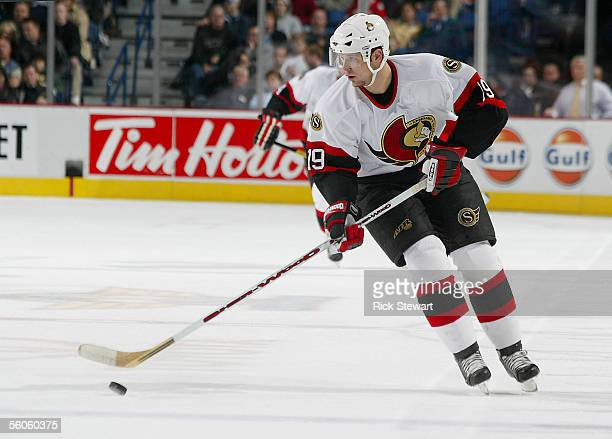 Jason Spezza of the Ottawa Senators skates with the puck against the Buffalo Sabres on November 2 2005 at HSBC Arena in Buffalo New York The Senators...