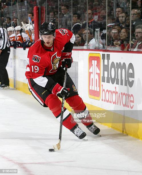 Jason Spezza of the Ottawa Senators stickhandles the puck against the New York Islanders at Scotiabank Place on October 8 2009 in Ottawa Ontario...