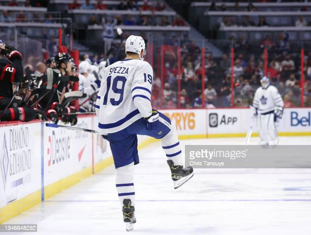 Jason Spezza of the Toronto Maple Leafs celebrates his third-period goal against the Ottawa Senators at Canadian Tire Centre on October 14, 2021 in...