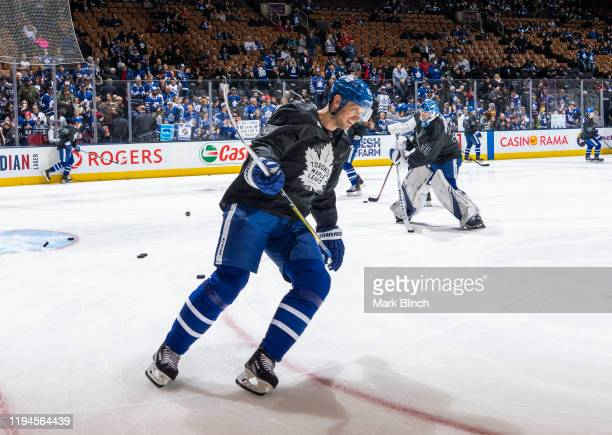 Jason Spezza of the Toronto Maple Leafs wears a jersey honouring the Canadian Armed Forces during warmup before facing the Chicago Blackhawks at the...